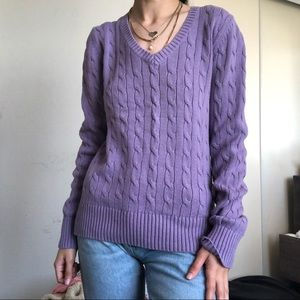 Tommy Hilfiger Purple Cable-knit Sweater